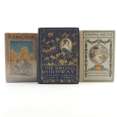 "Fiction Books Featuring ""The Broad Highway"" by J. Farnol, Early 20th Century"