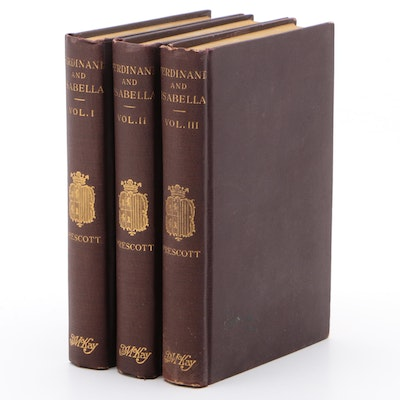"""""""History of the Reign of Ferdinand and Isabella"""" by W. Prescott, Complete Set"""