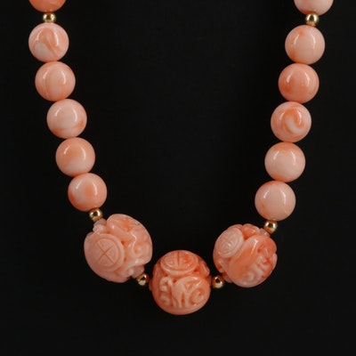 Coral Bead Necklace with Asian Coral Carvings