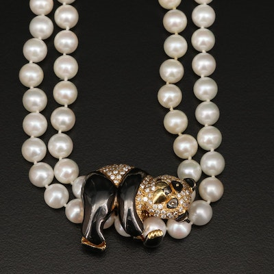 18K 1.14 CTW Diamond Panda Enhancer Pendant and Pearl Necklace with 14K Clasp