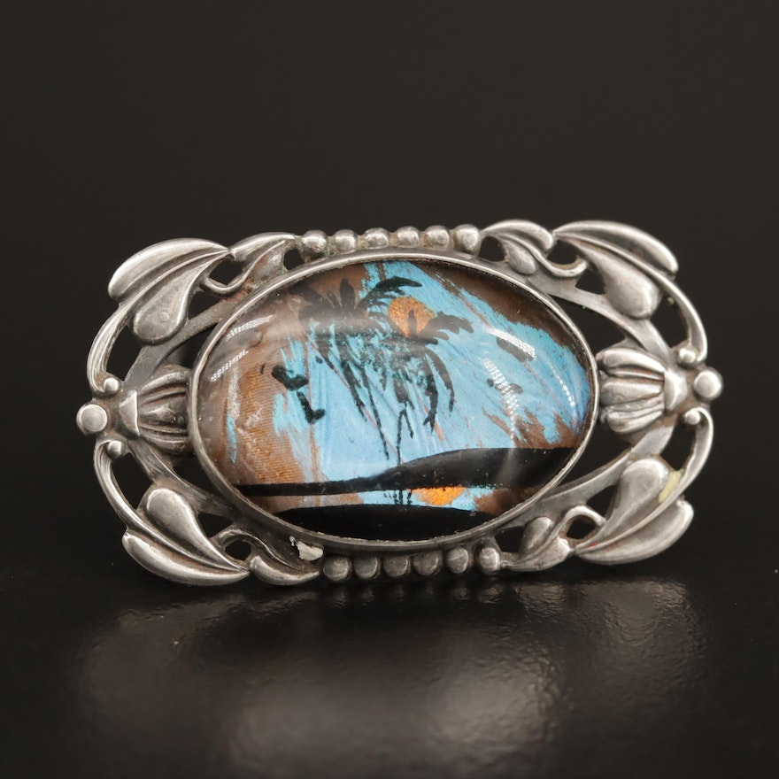 Antique Sterling Morpho Butterfly Wing Brooch with Painted Landscape Detail