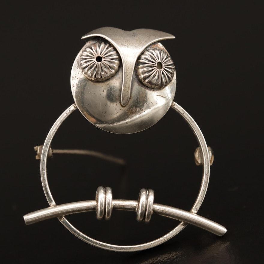 Vintage Beau Sterling Silver Owl Brooch