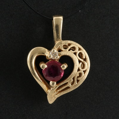 14K Diamond and Ruby Heart Pendant