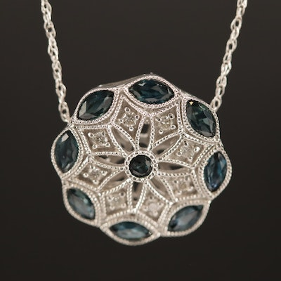 14K Blue Sapphire and Diamond Medallion Pattern Pendant Necklace