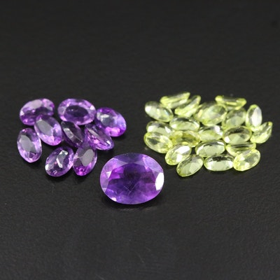 Loose Mixed Gemstones Including Amethyst and Peridot