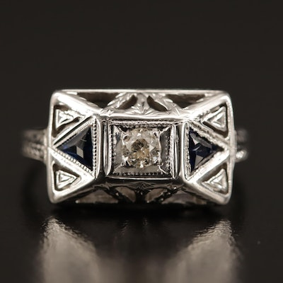 Art Deco 14K Diamond and Blue Sapphire Ring