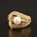 18K Pearl and Diamond Ring with Twisted Wire Pattern
