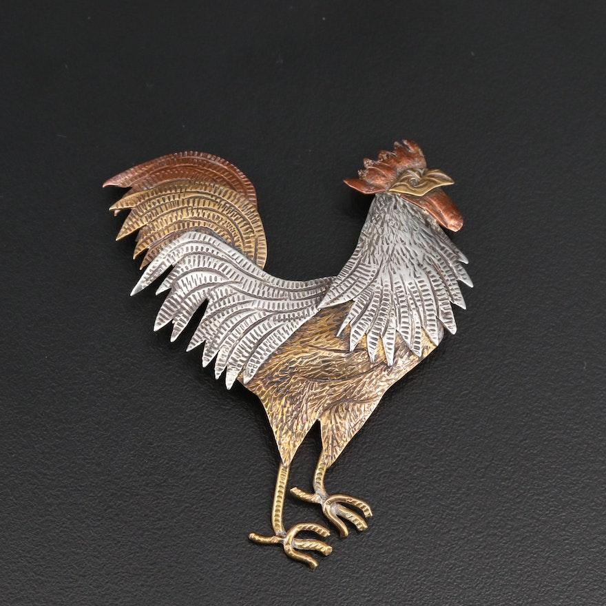 Signed Sterling Silver Rooster Brooch with Stamp Work Design