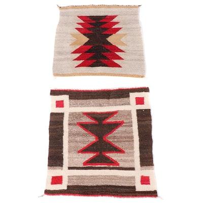 1'8 x 1'7 Navajo Western Reservation Wool Gallup Throw Weavings