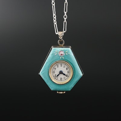 Swiss Enameled 935 Silver Pendant Watch