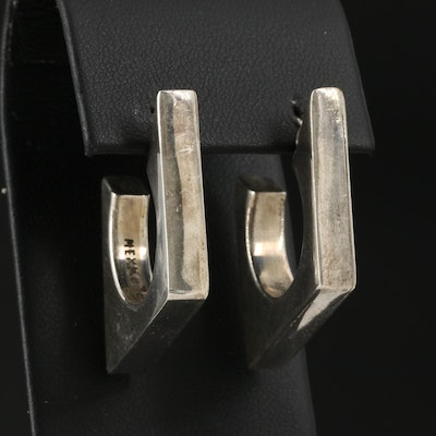 Mexican Modernist Sterling Silver Hoop Earrings