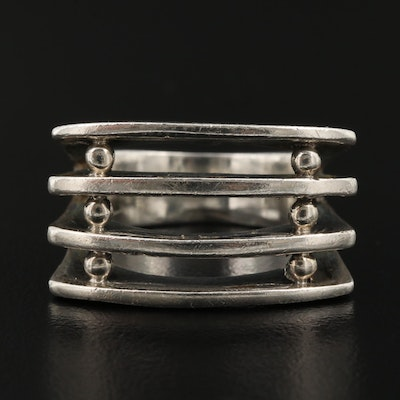 Sterling Modernist Style Banded Ring with Euro Shank