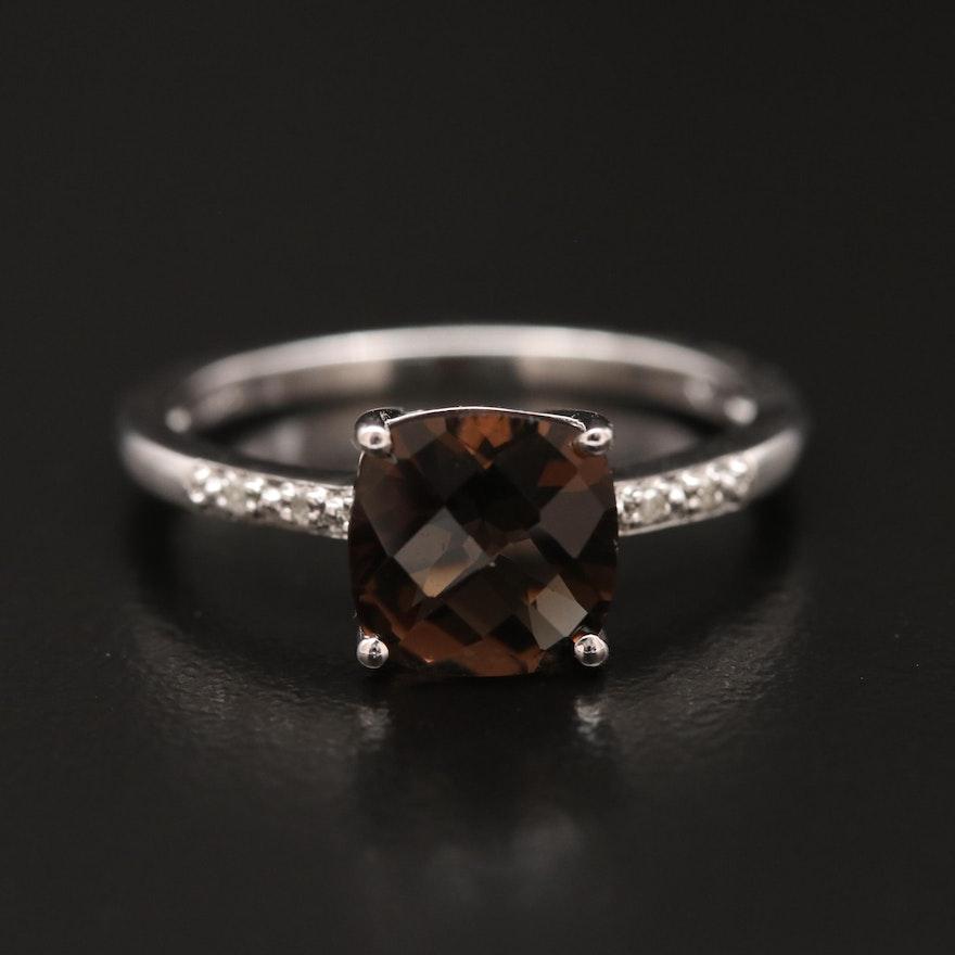 Sterling Silver Smoky Quartz and Diamond Ring
