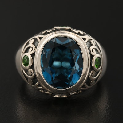 "Sterling ""London"" Blue Topaz and Diopside Ring"