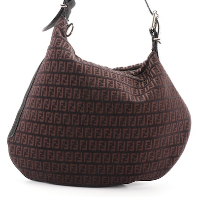 Fendi Large Oyster Hobo Bag in Zucchino Canvas with Black Leather Trim