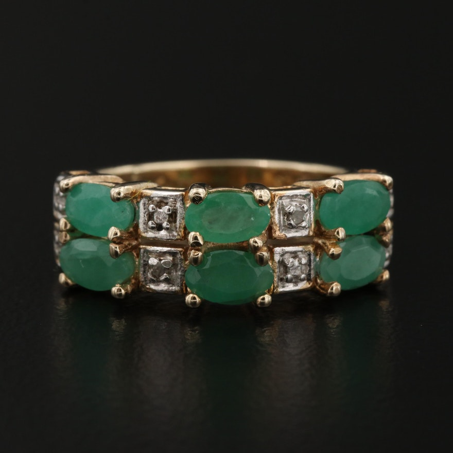 Sterling Emerald and Diamond Ring