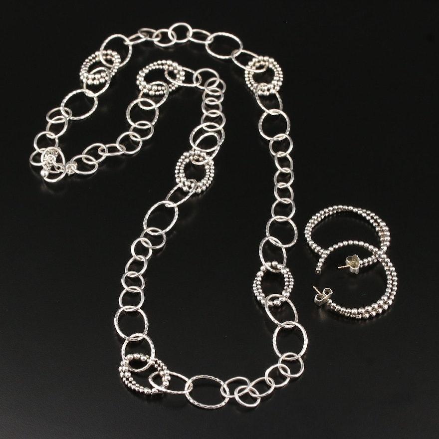 Michael Dawkins Sterling Silver Necklace and Hoop Earrings