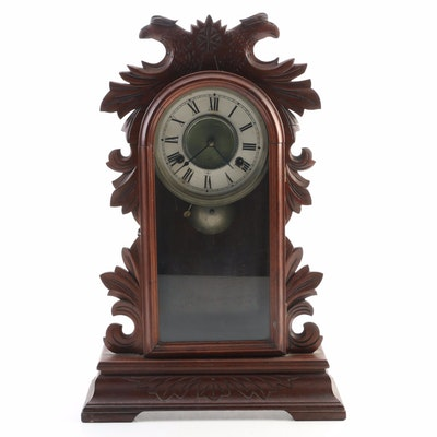 Hand-Carved Mahogany Mantel Clock, Late 19th/Early 20th Century