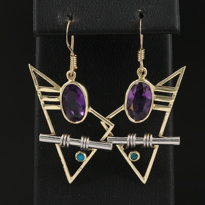 14K Modernist Amethyst and Glass Dangle Earrings with Sterling Accent