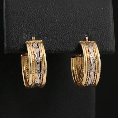 14K Two-Tone Hoop Earrings