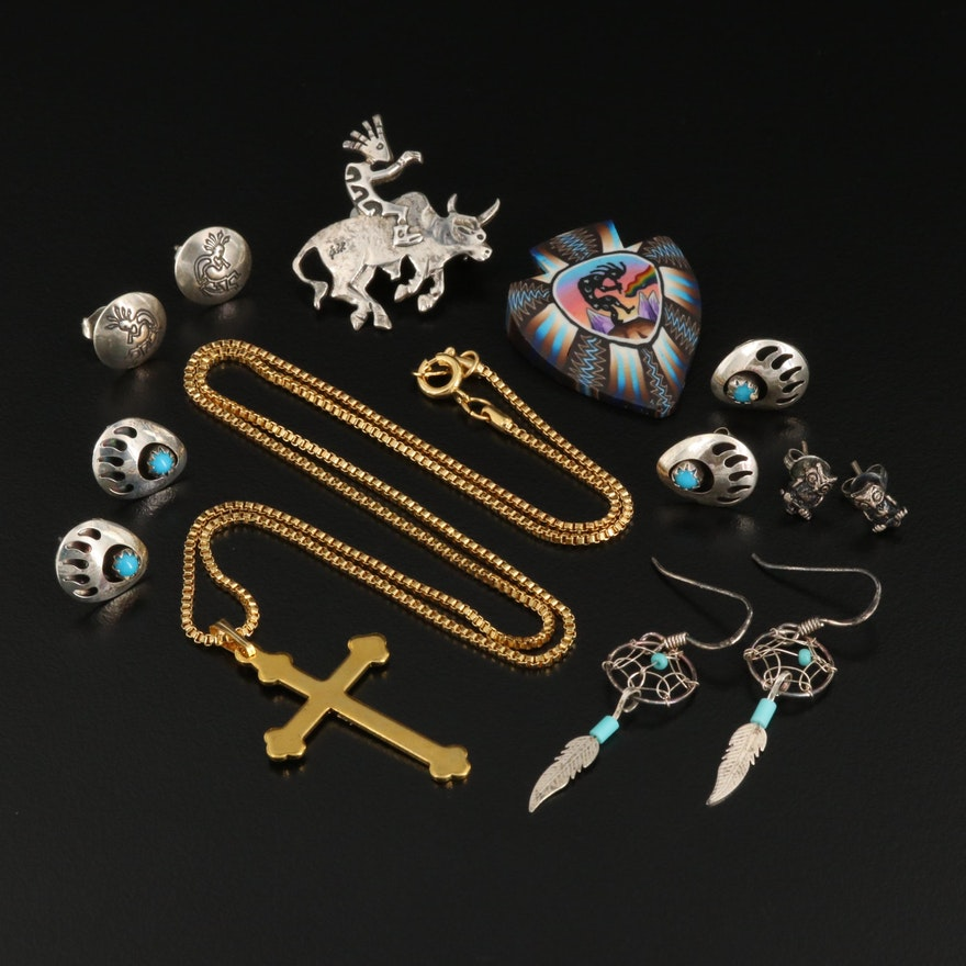 Sterling Silver Western and Religious Themed Jewelry Featuring Kokopelli