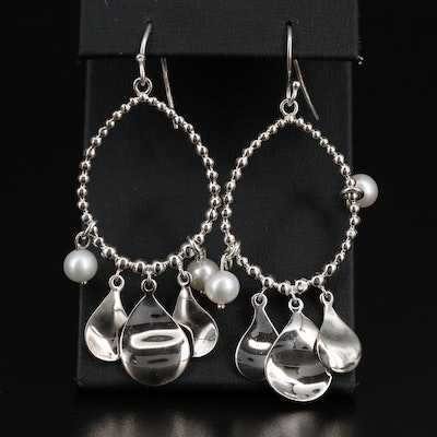 Michael Dawkins Sterling Silver Pearl Dangle Earrings