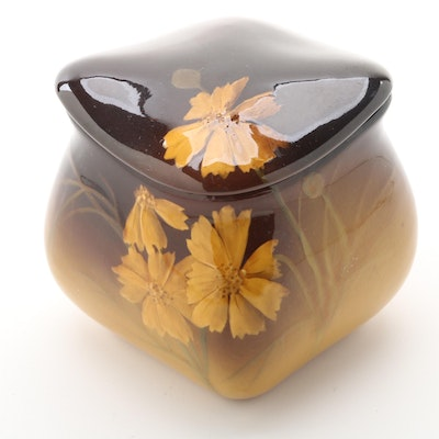 Elizabeth Neave Lincoln Rookwood Pottery Brown Glazed Trinket Box, 1901