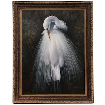 Mark Paul Elliot Oil Painting of Snowy Egret, 21st Century