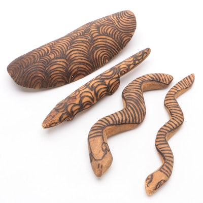 Hand Carved Snake, Gecko and Tortoise Shell Figurines