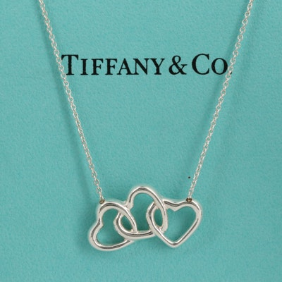 Tiffany & Co. Sterling Silver Triple Heart Necklace