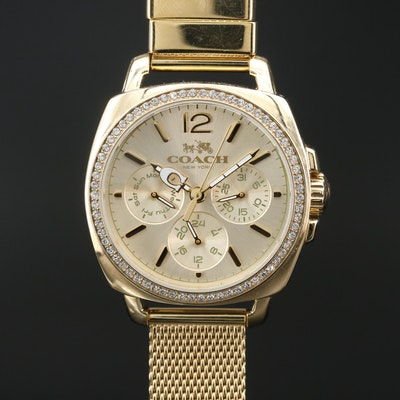 Stainless Steel Coach Day-Date 24 Hour Stainless Steel Quartz Wristwatch