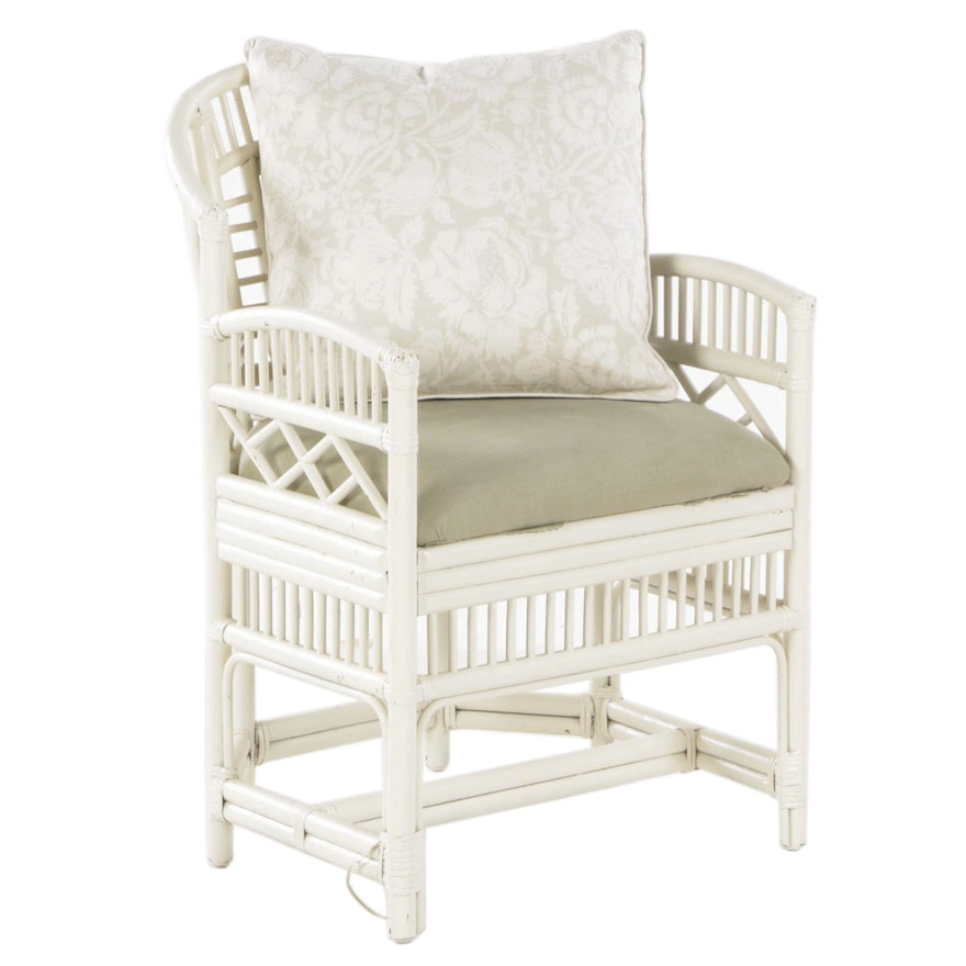 Painted Wood and Rattan Upholstered Arm Chair