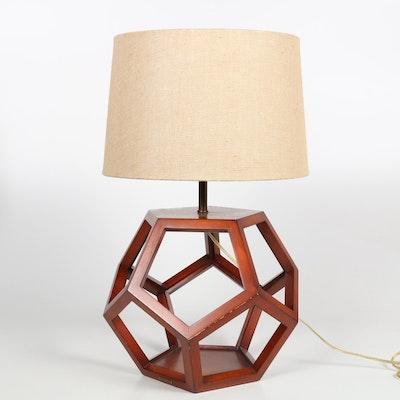 Hardwood Polygon Shaped Tablelamp