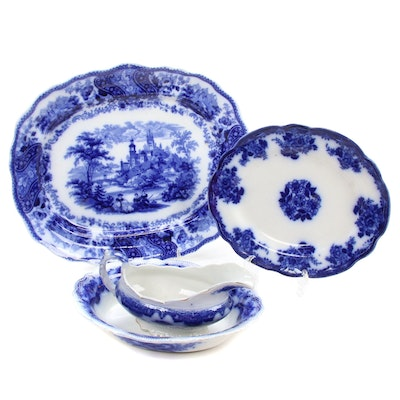 English Blue and White Ironstone Transferware Serving Dishes, Antique