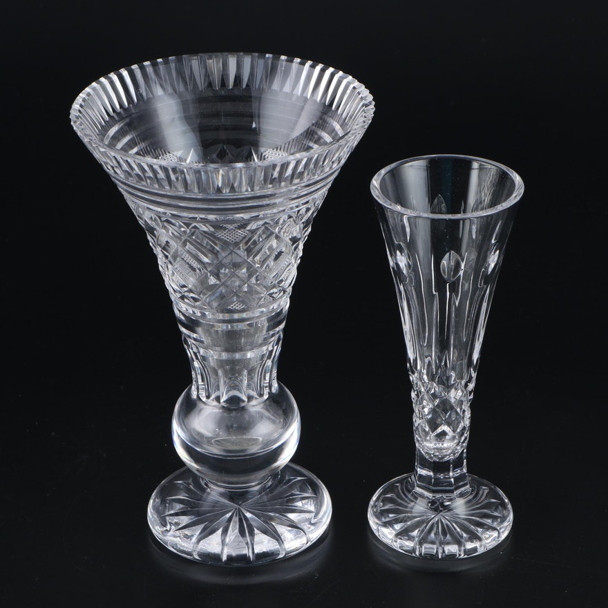 "Waterford Crystal ""Giftware"" Bulbous Stem Vase and ""Happy Birthday"" Bud Vase"