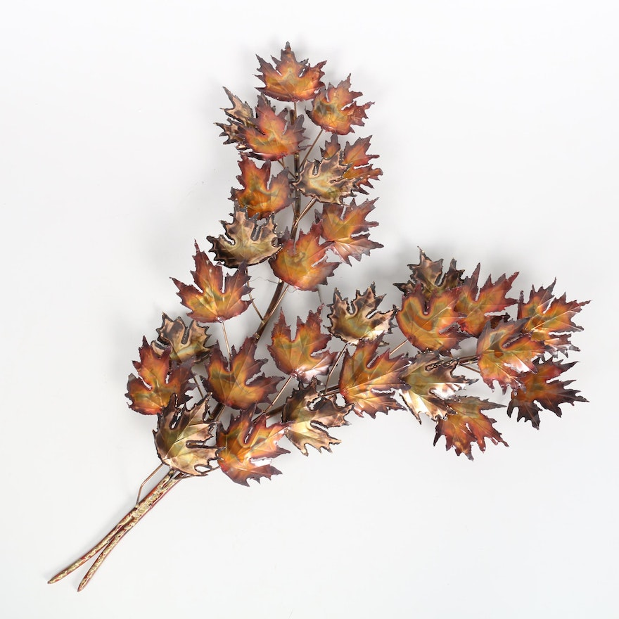 Curtis Jere Style Burnished Maple Leaf Wall Sculpture