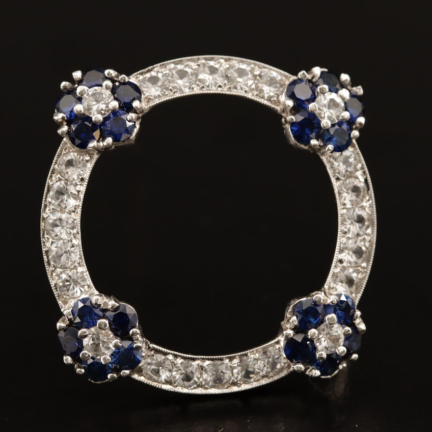 14K Sapphire and White Spinel Circle Brooch