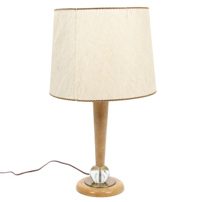 Mid Century Modern  Wood and Glass Ball Table Lamp