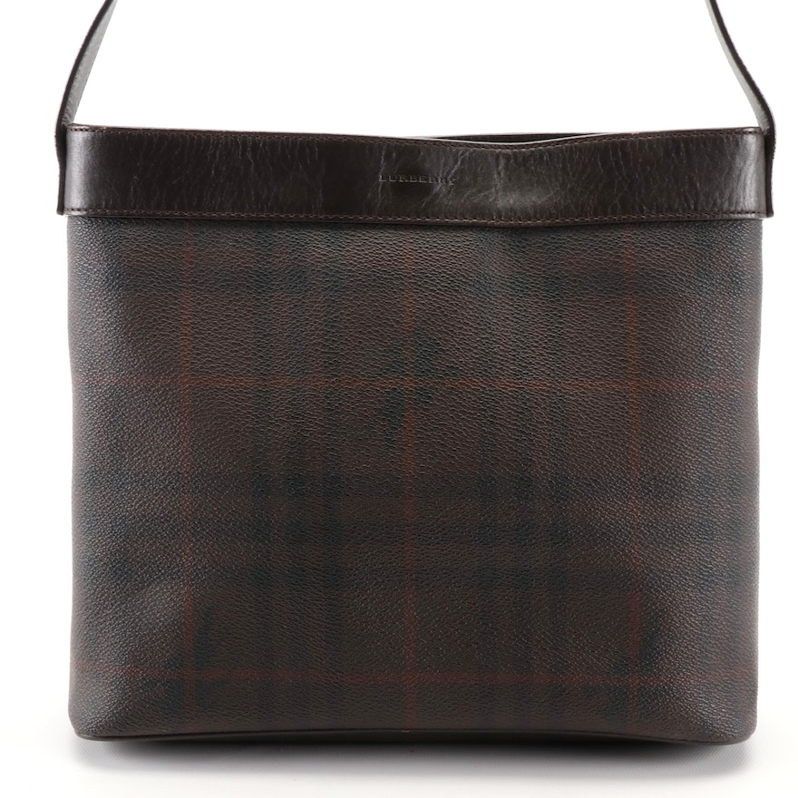 "Burberry Shoulder Bag in ""Haymarket Check"" Coated Canvas with Leather Trim"