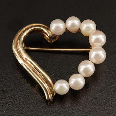 14K Pearl Heart Converter Brooch