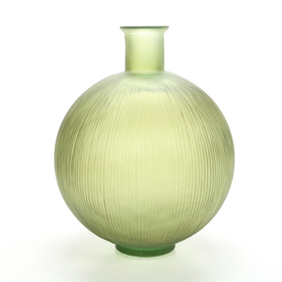 Avocado Green Frosted Ribbed Glass Floor Vase