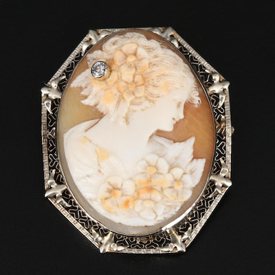 Antique 14K Diamond and Shell Habillé Cameo Converter Brooch