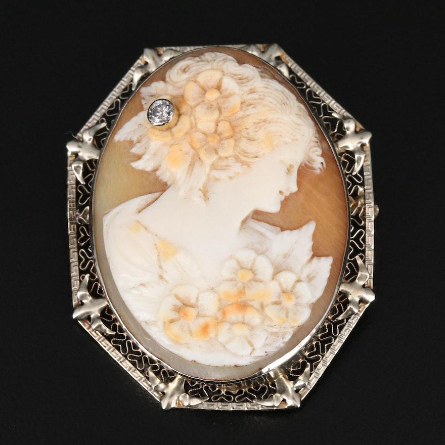 Antique 14K Diamond and Shell Habillé Cameo Converter Brooch