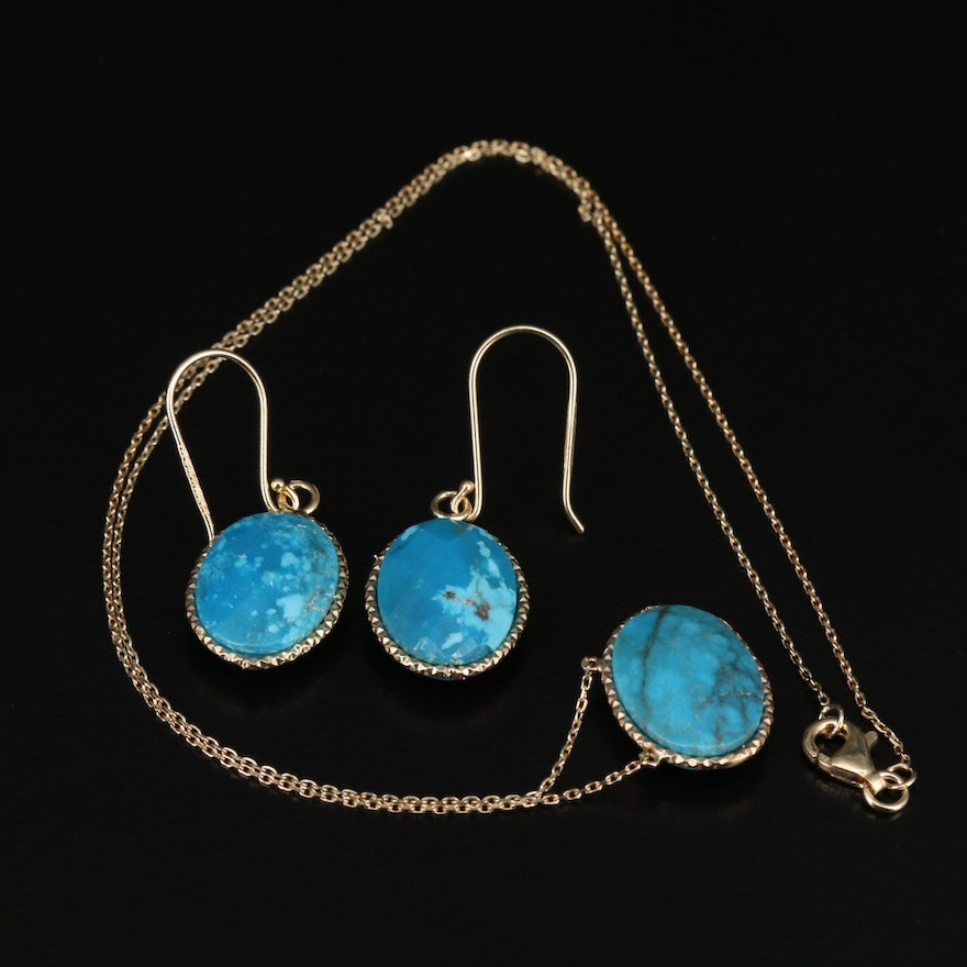 Sterling Silver Turquoise Necklace and Drop Earrings Set