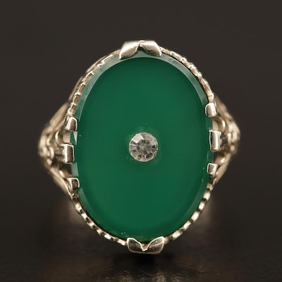 Vintage 14K Chalcedony and Glass Ring