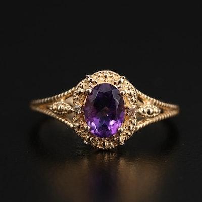 14K Amethyst and Diamond Openwork Ring