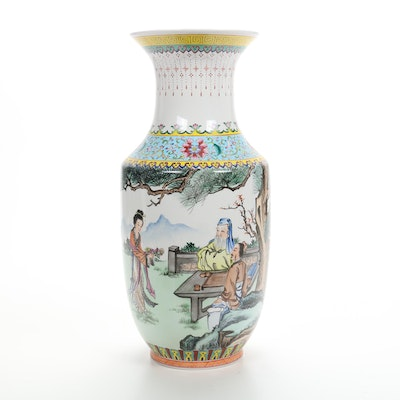 Chinese Hand-Painted Porcelain Floor Vase, 20th Century