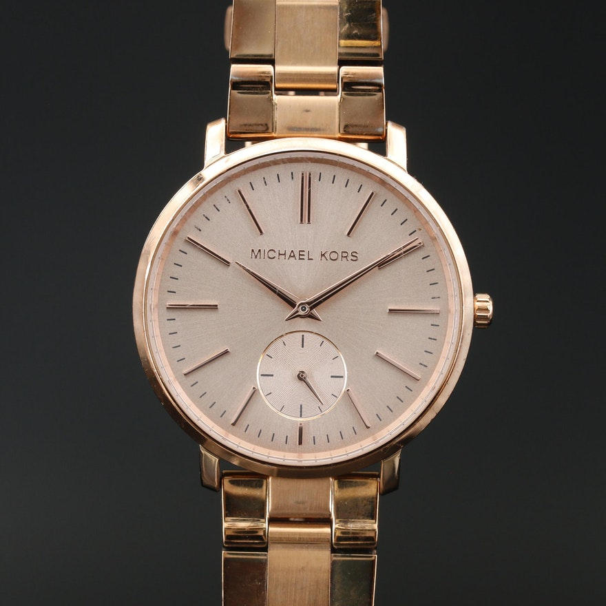 Michael Kors MK-3501 Rose Tone Stainless Steel Quartz Wristwatch