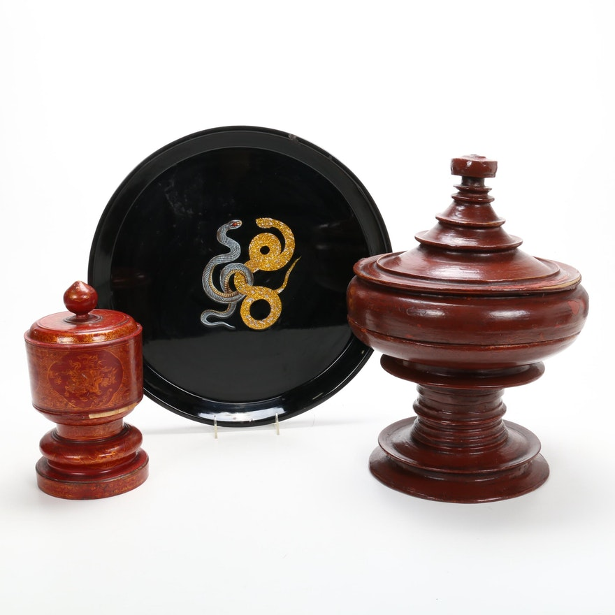 Chinese Lacquerware Urns with D.L. & Co. Snake Tray