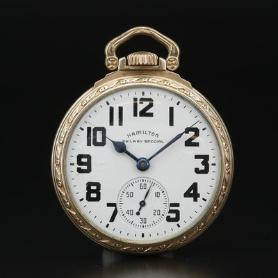 "1948 Hamilton ""Railway Special"" Gold Filled Pocket Watch"